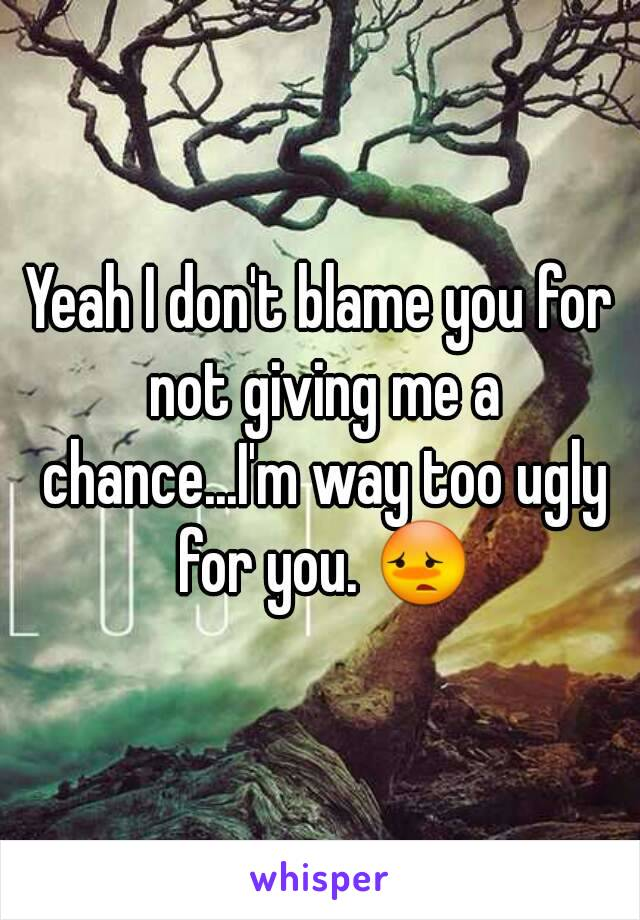 Yeah I don't blame you for not giving me a chance...I'm way too ugly for you. 😳