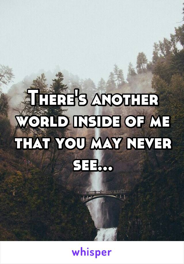 There's another world inside of me that you may never see...