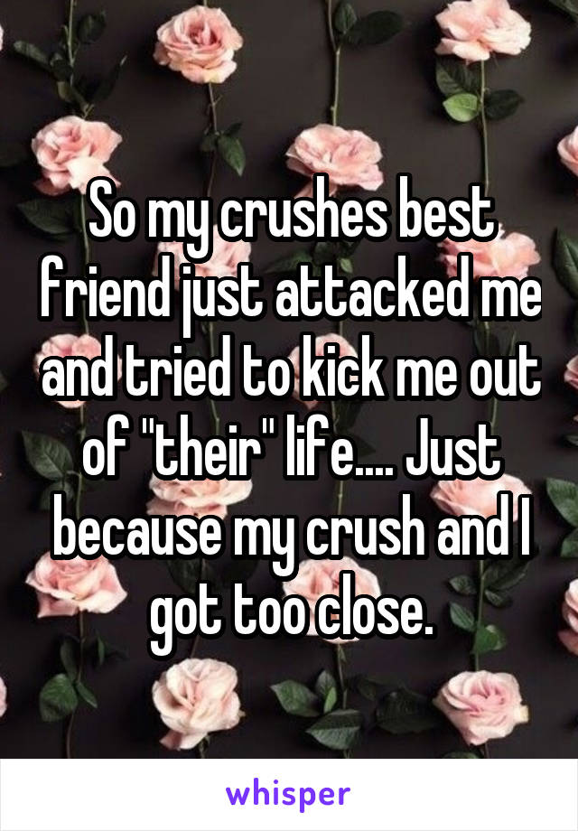 """So my crushes best friend just attacked me and tried to kick me out of """"their"""" life.... Just because my crush and I got too close."""