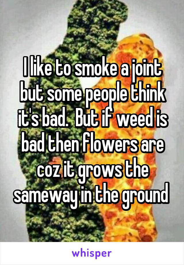 I like to smoke a joint but some people think it's bad.  But if weed is bad then flowers are coz it grows the sameway in the ground