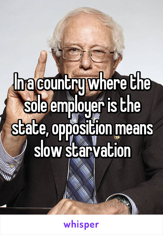 In a country where the sole employer is the state, opposition means slow starvation