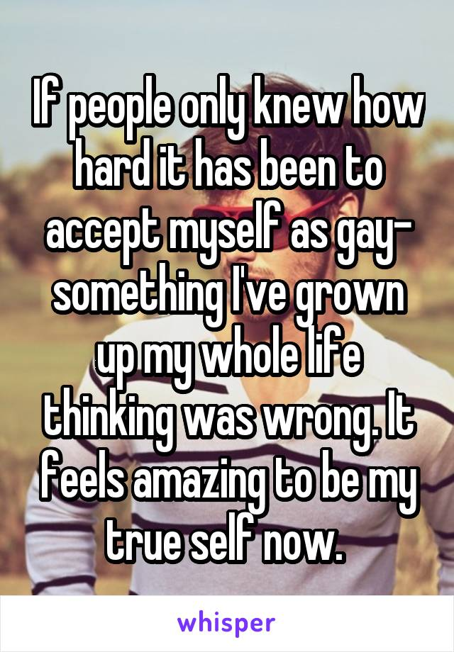 If people only knew how hard it has been to accept myself as gay- something I've grown up my whole life thinking was wrong. It feels amazing to be my true self now.