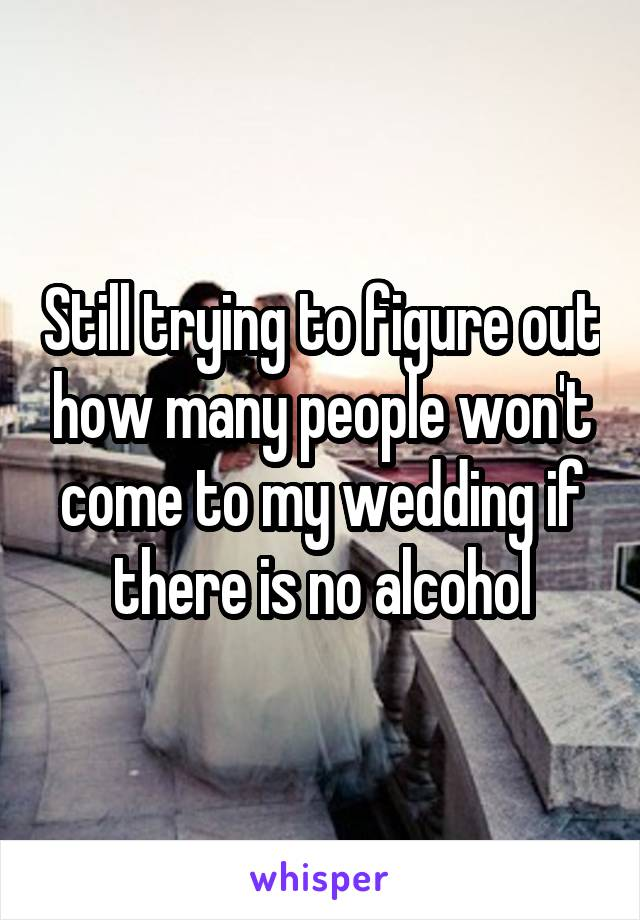 Still trying to figure out how many people won't come to my wedding if there is no alcohol