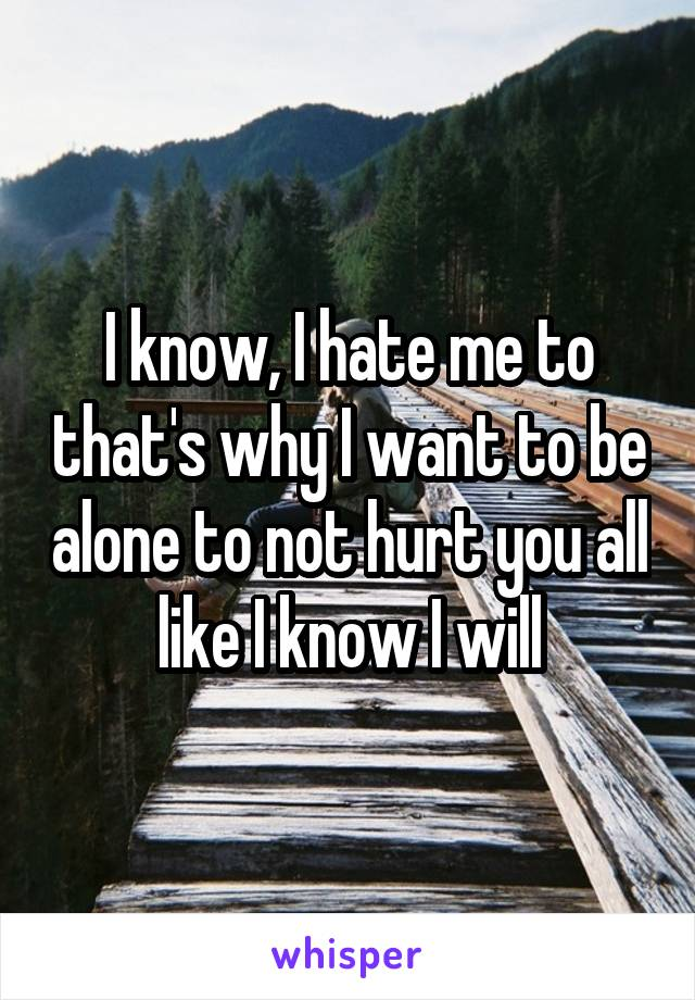 I know, I hate me to that's why I want to be alone to not hurt you all like I know I will