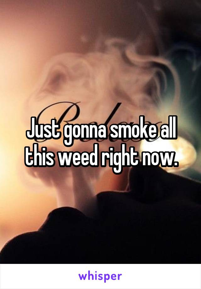 Just gonna smoke all this weed right now.