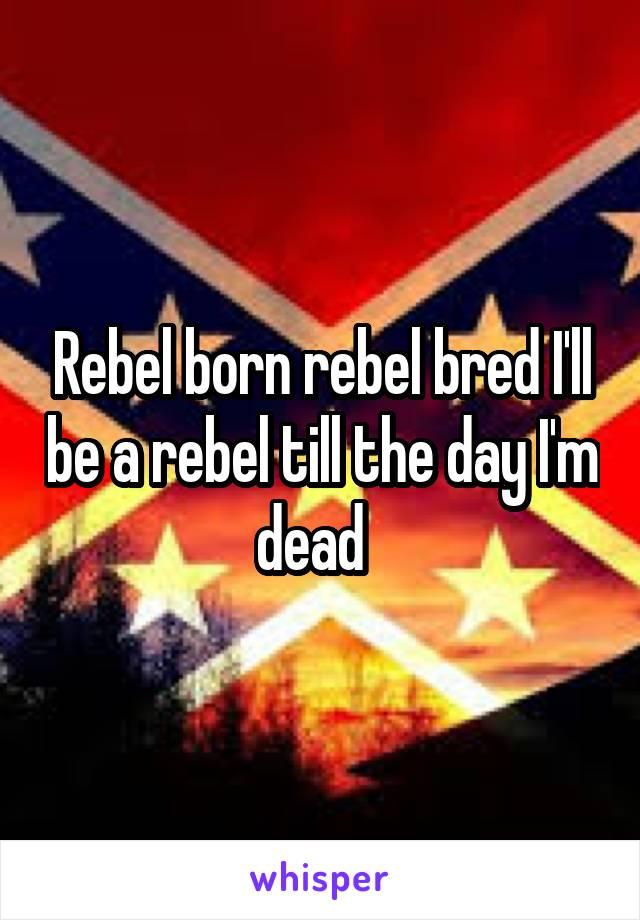 Rebel born rebel bred I'll be a rebel till the day I'm dead