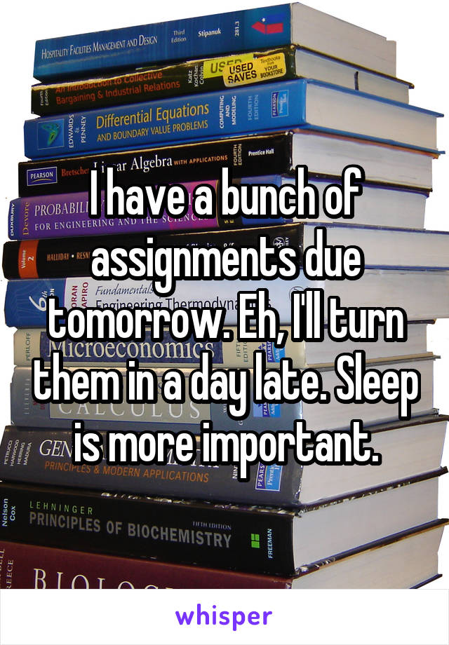 I have a bunch of assignments due tomorrow. Eh, I'll turn them in a day late. Sleep is more important.