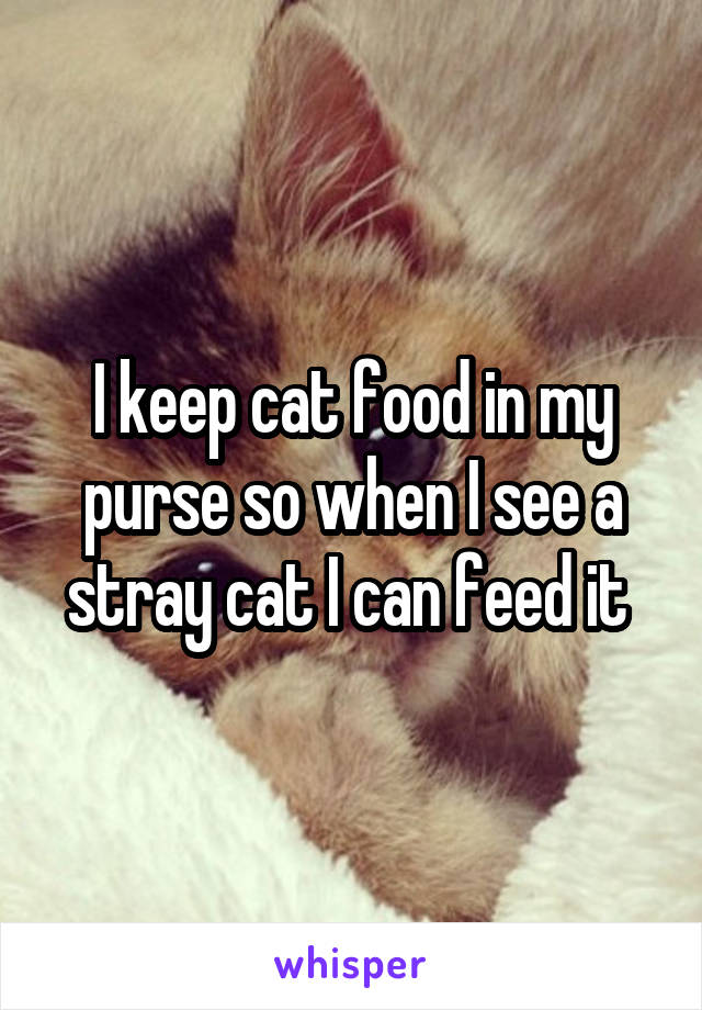 I keep cat food in my purse so when I see a stray cat I can feed it