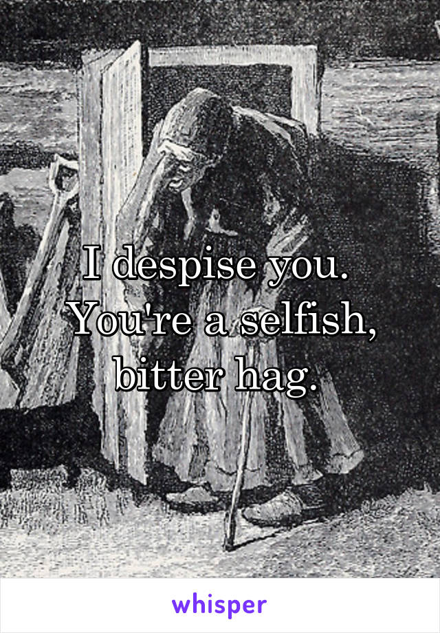 I despise you.  You're a selfish, bitter hag.