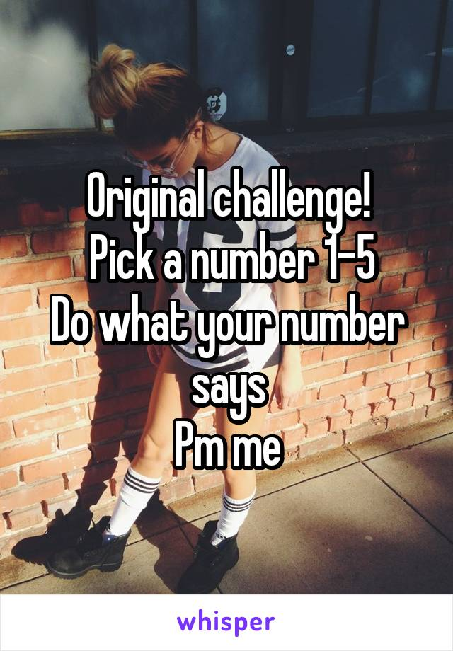 Original challenge!  Pick a number 1-5 Do what your number says Pm me