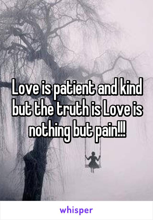 Love is patient and kind but the truth is Love is nothing but pain!!!