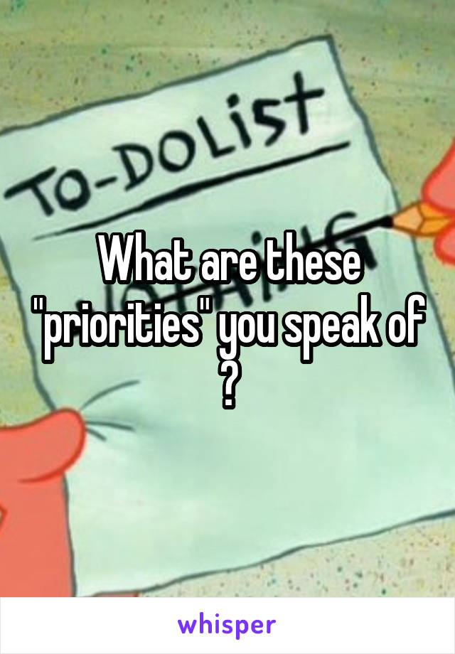 """What are these """"priorities"""" you speak of ?"""