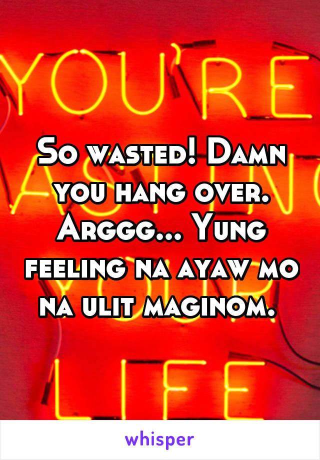 So wasted! Damn you hang over. Arggg... Yung feeling na ayaw mo na ulit maginom.