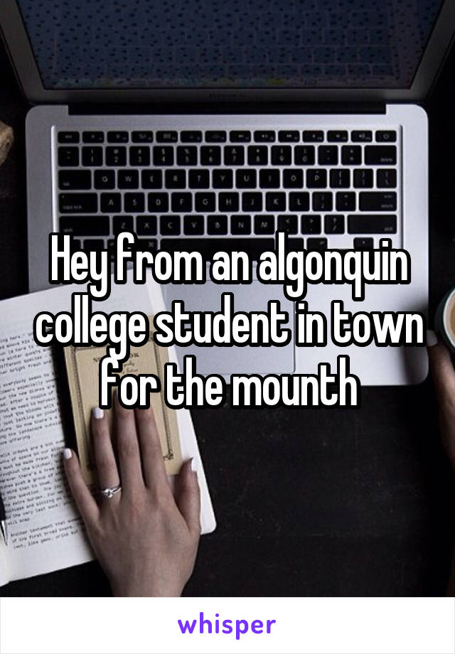 Hey from an algonquin college student in town for the mounth