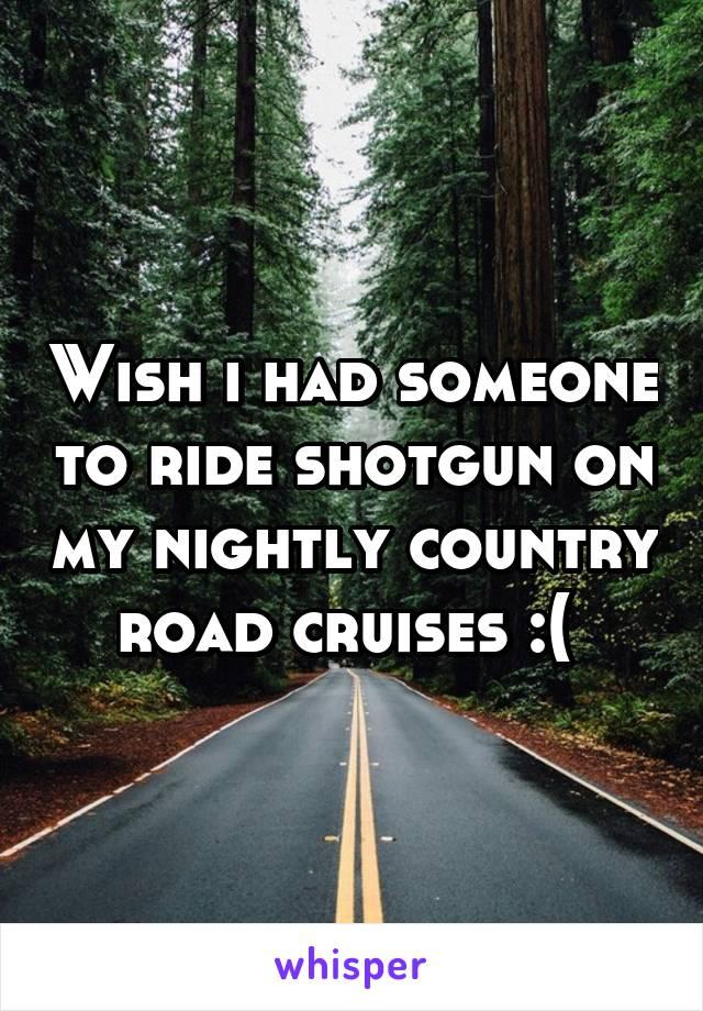 Wish i had someone to ride shotgun on my nightly country road cruises :(