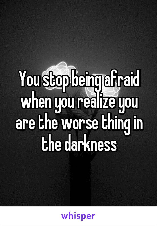 You stop being afraid when you realize you are the worse thing in the darkness