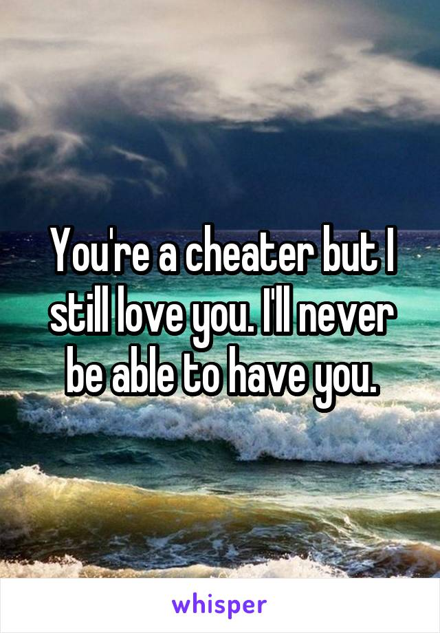 You're a cheater but I still love you. I'll never be able to have you.
