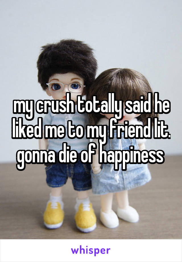 my crush totally said he liked me to my friend lit. gonna die of happiness