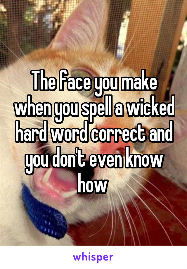 The face you make when you spell a wicked hard word correct and you don't even know how
