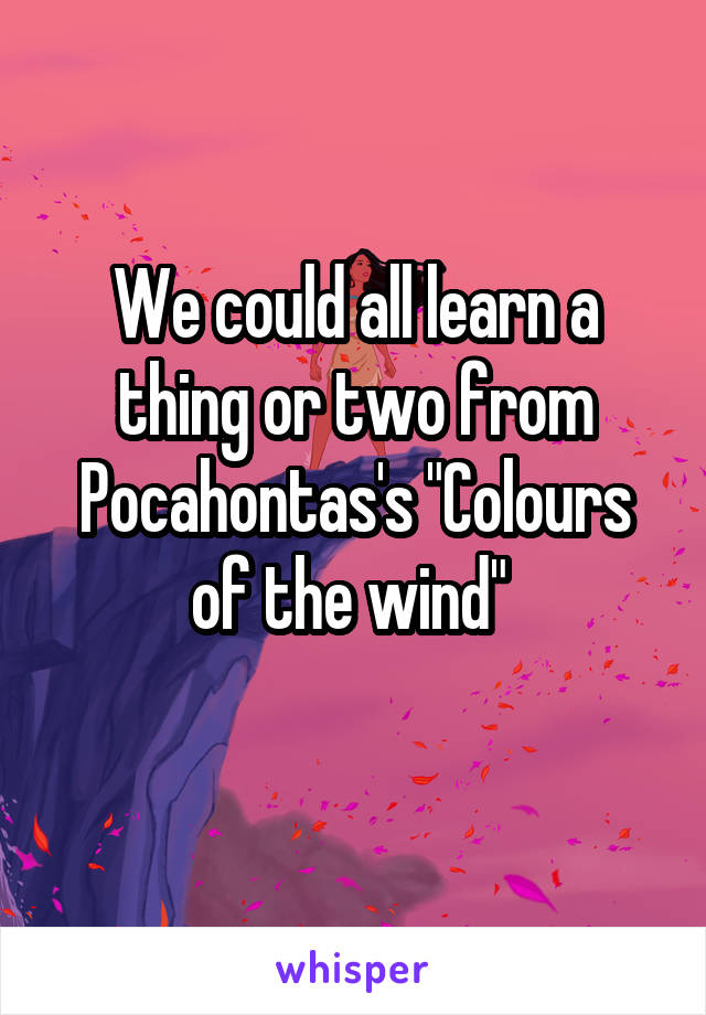 """We could all learn a thing or two from Pocahontas's """"Colours of the wind"""""""