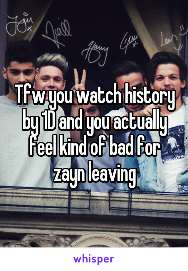 Tfw you watch history by 1D and you actually feel kind of bad for zayn leaving