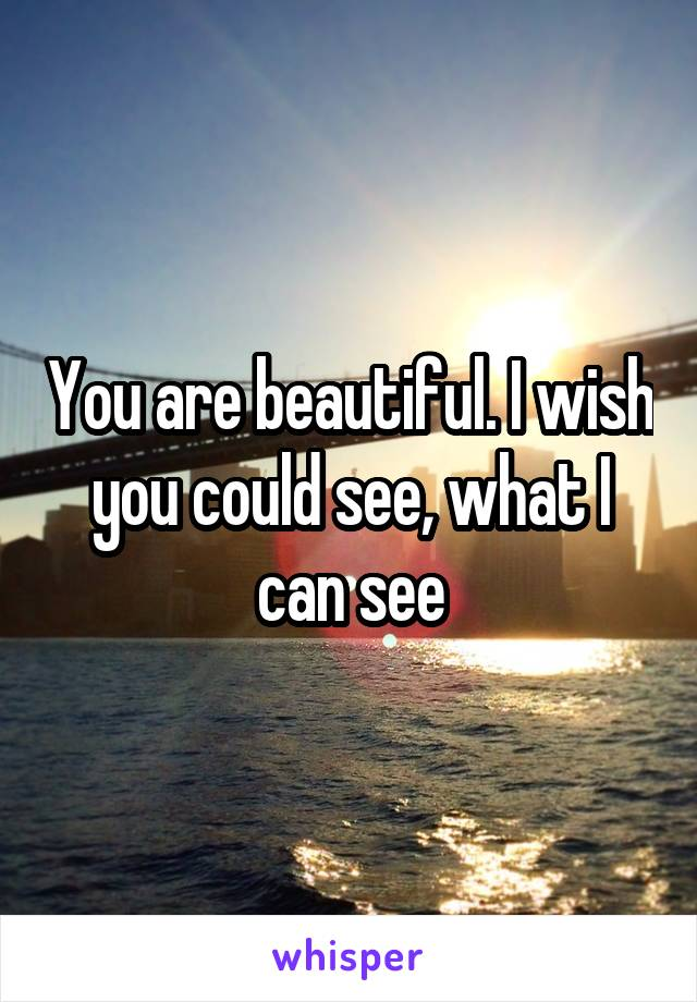 You are beautiful. I wish you could see, what I can see