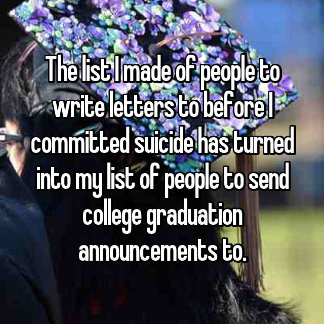 The list I made of people to write letters to before I committed suicide has turned into my list of people to send college graduation announcements to.