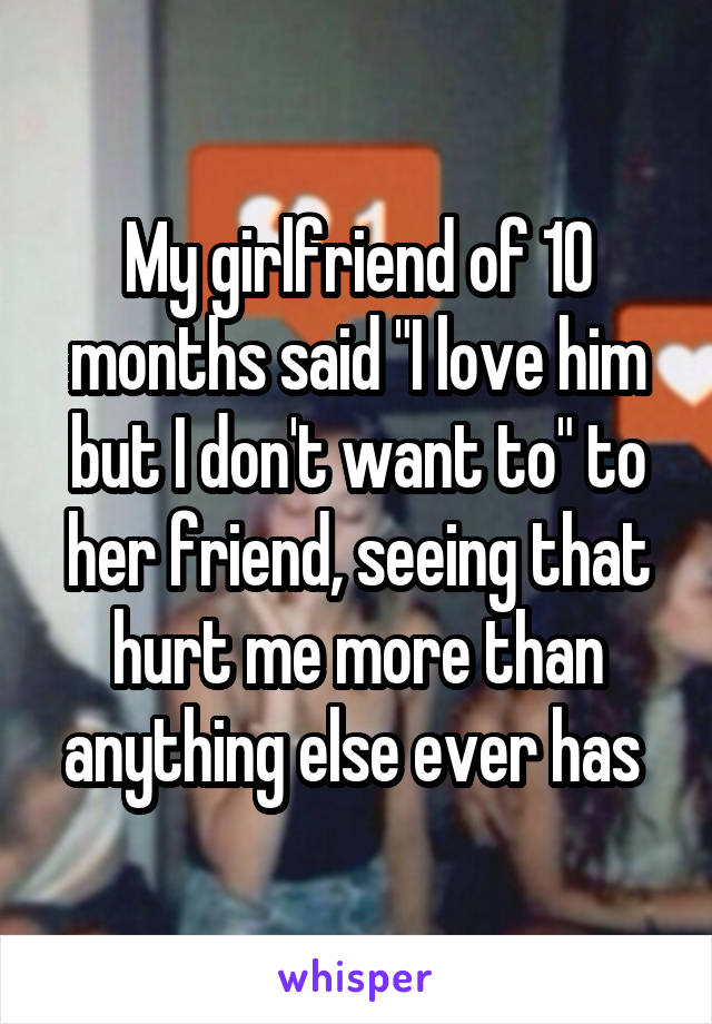 "My girlfriend of 10 months said ""I love him but I don't want to"" to her friend, seeing that hurt me more than anything else ever has"