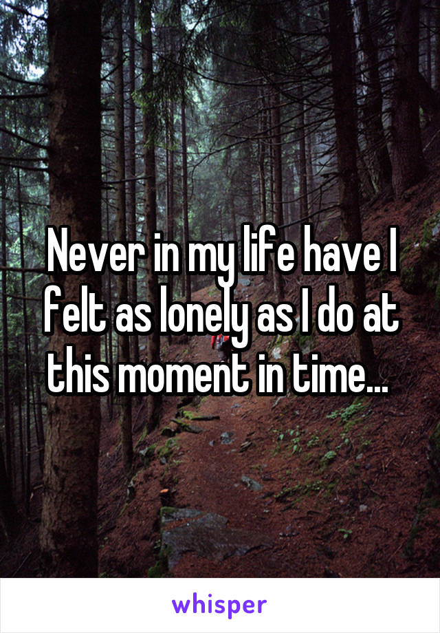 Never in my life have I felt as lonely as I do at this moment in time...