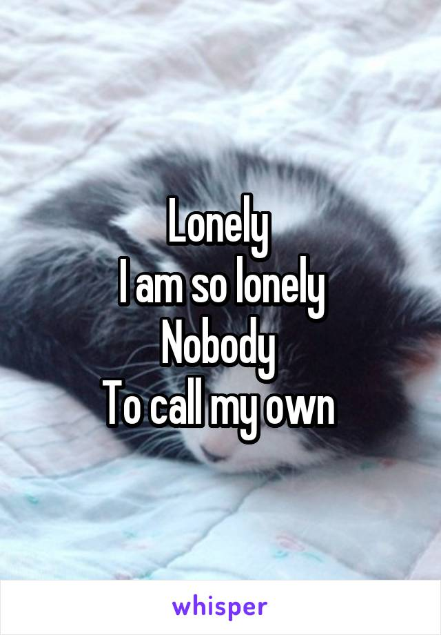 Lonely  I am so lonely Nobody  To call my own