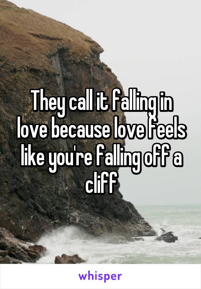 They call it falling in love because love feels like you're falling off a cliff