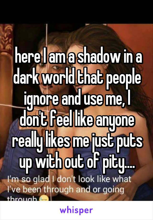 here I am a shadow in a dark world that people ignore and use me, I don't feel like anyone really likes me just puts up with out of pity....