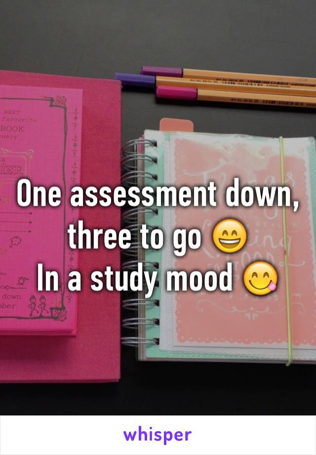 One assessment down, three to go 😄 In a study mood 😋