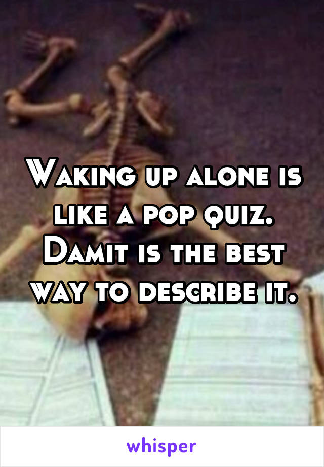 Waking up alone is like a pop quiz. Damit is the best way to describe it.