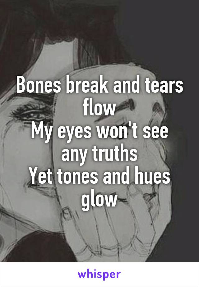 Bones break and tears flow My eyes won't see any truths Yet tones and hues glow