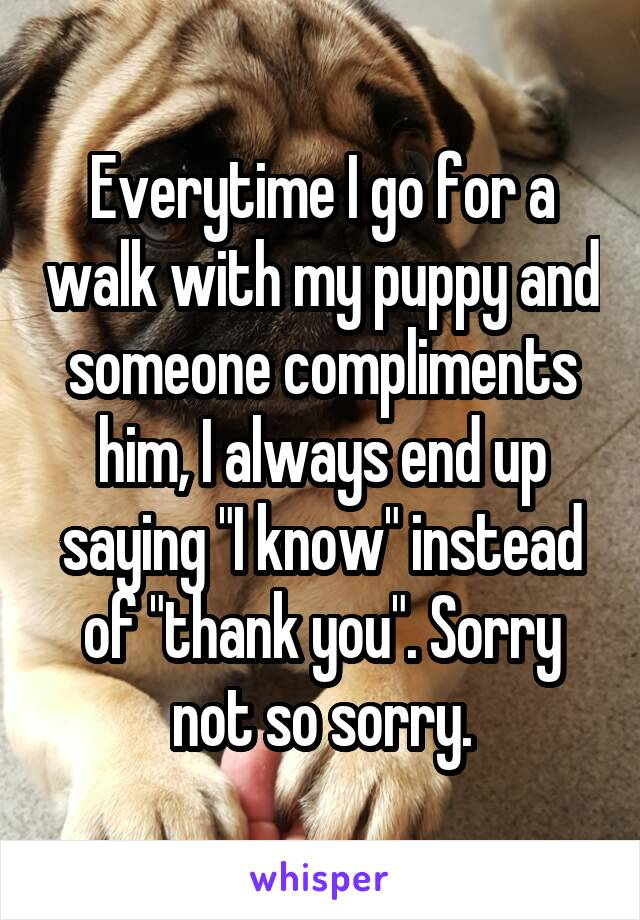 Everytime I go for a walk with my puppy and someone compliments him