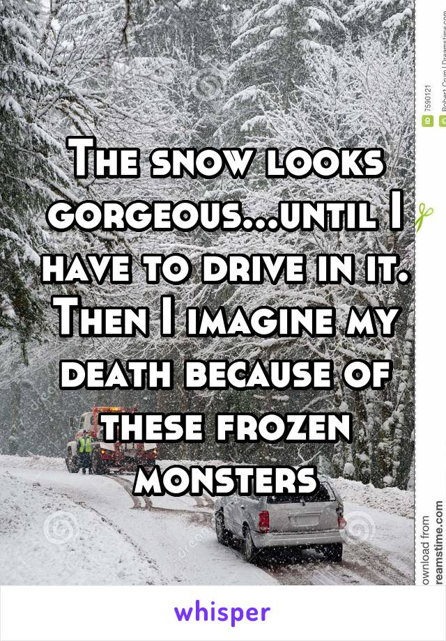 The snow looks gorgeous...until I have to drive in it. Then I imagine my death because of these frozen monsters