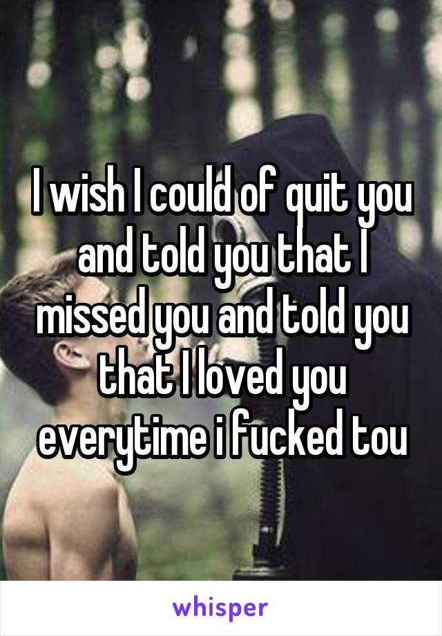 I wish I could of quit you and told you that I missed you and told you that I loved you everytime i fucked tou