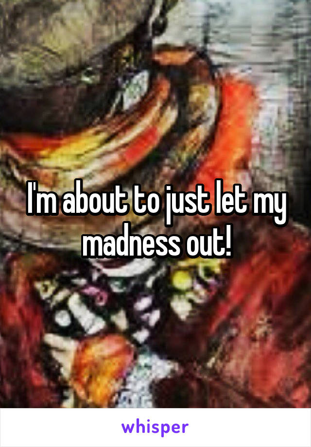 I'm about to just let my madness out!