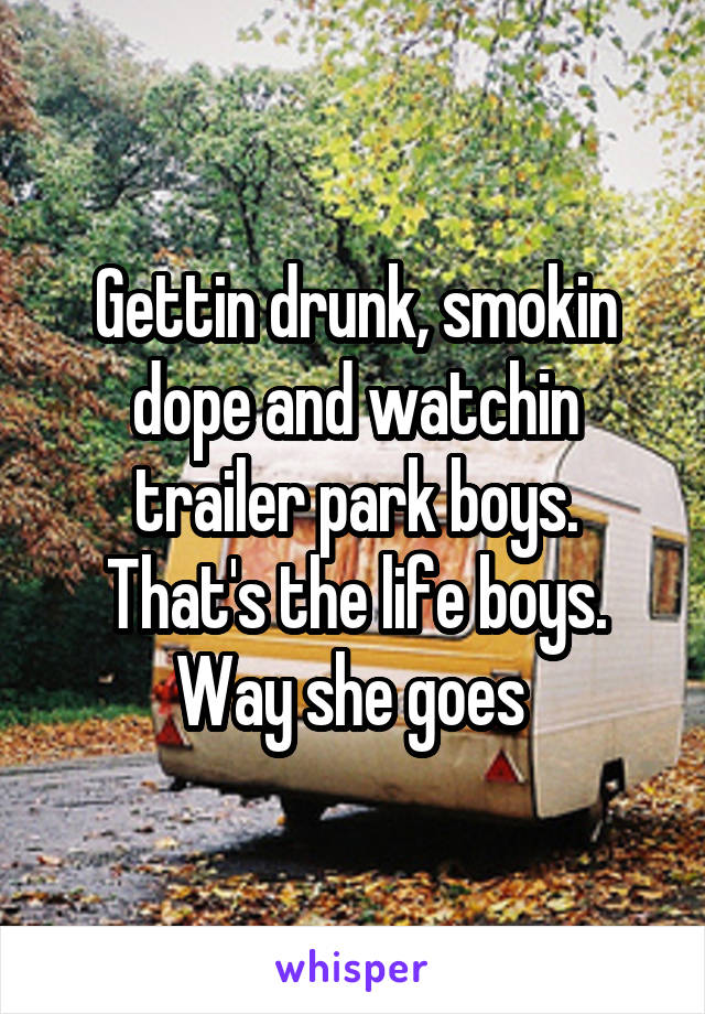 Gettin drunk, smokin dope and watchin trailer park boys. That's the life boys. Way she goes