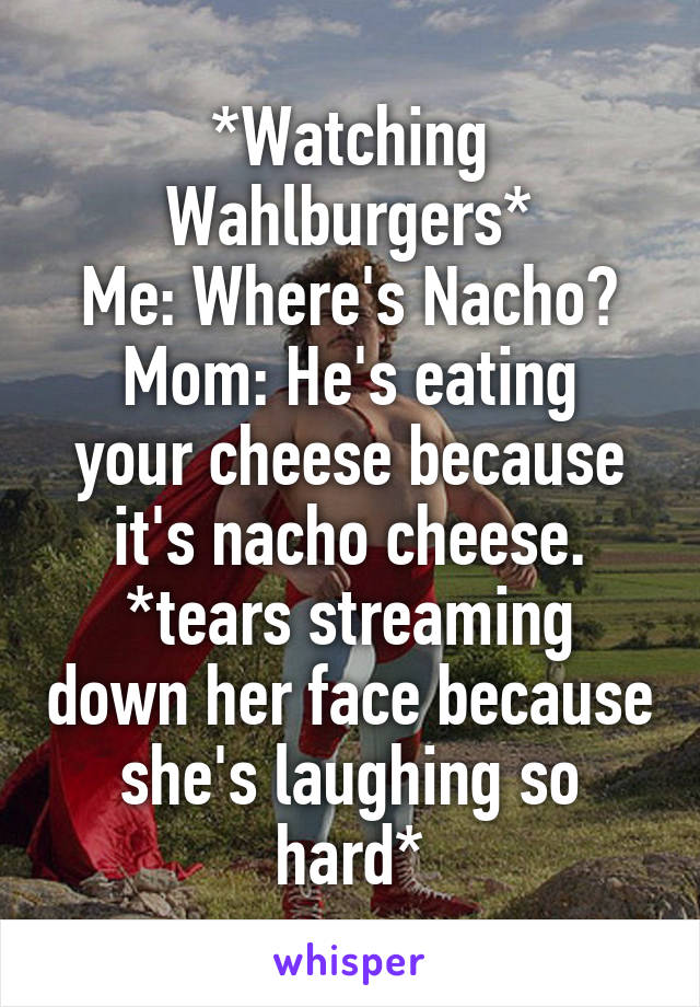 *Watching Wahlburgers* Me: Where's Nacho? Mom: He's eating your cheese because it's nacho cheese. *tears streaming down her face because she's laughing so hard*