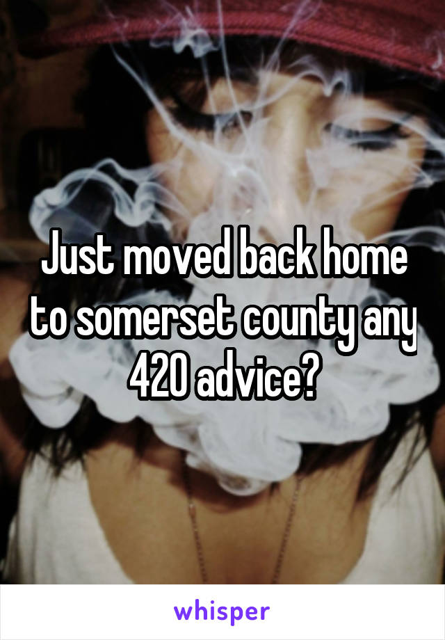Just moved back home to somerset county any 420 advice?