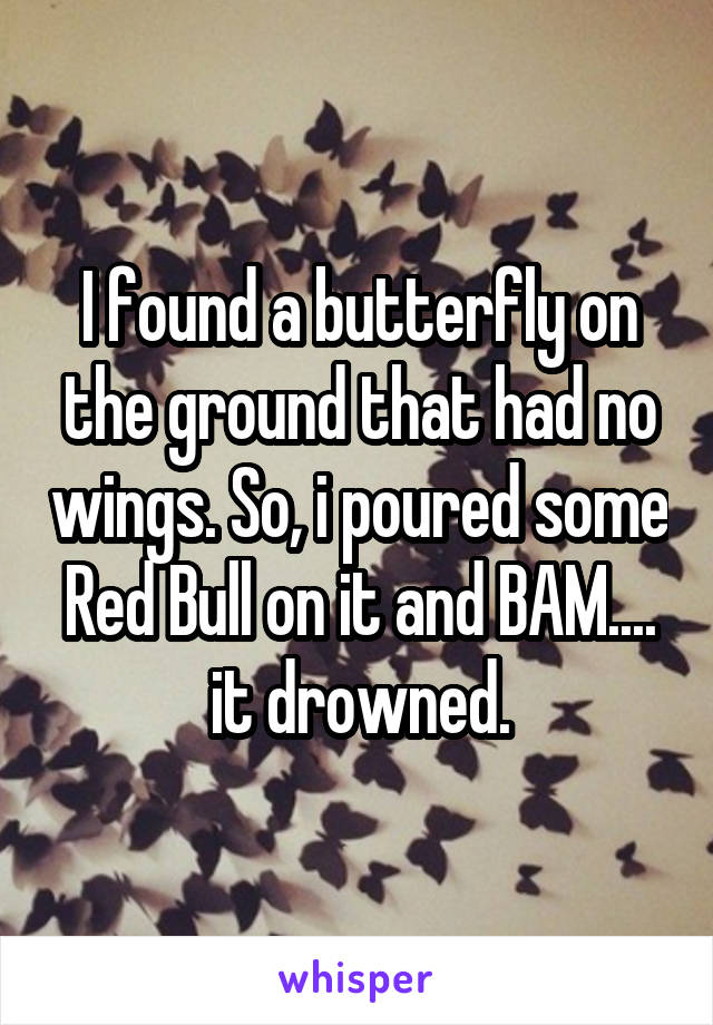 I found a butterfly on the ground that had no wings. So, i poured some Red Bull on it and BAM.... it drowned.