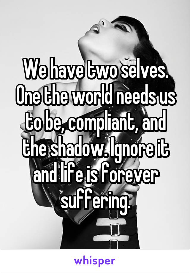 We have two selves. One the world needs us to be, compliant, and the shadow. Ignore it and life is forever suffering.