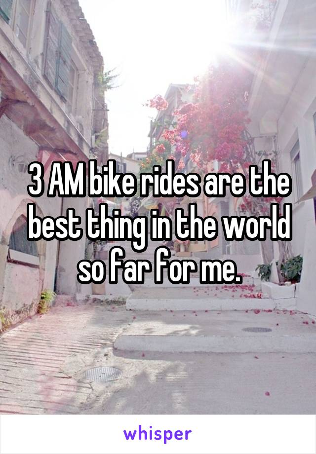 3 AM bike rides are the best thing in the world so far for me.