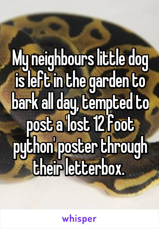 My neighbours little dog is left in the garden to bark all day, tempted to post a 'lost 12 foot python' poster through their letterbox.