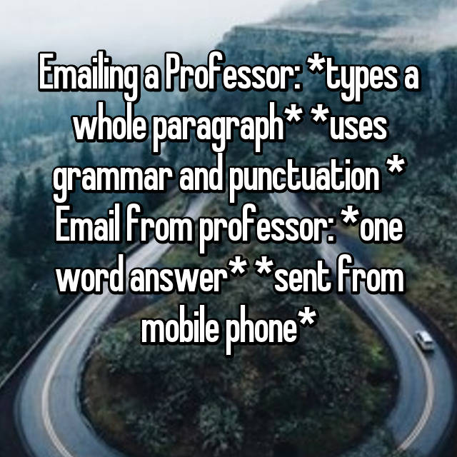 Emailing a Professor: *types a whole paragraph* *uses grammar and punctuation * Email from professor: *one word answer* *sent from mobile phone* 😑