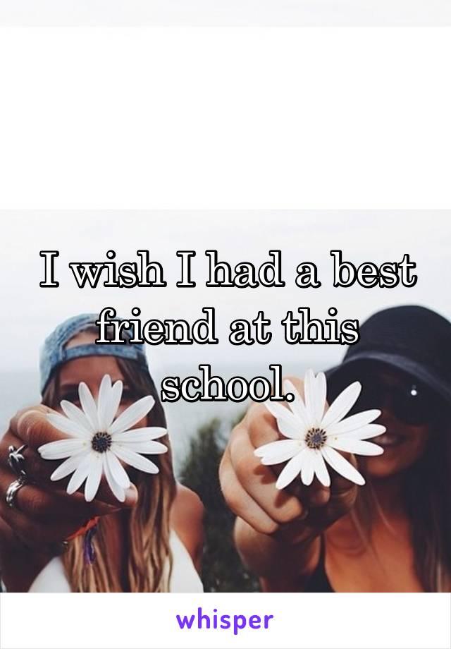 I wish I had a best friend at this school.