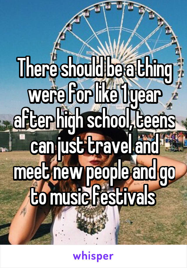There should be a thing were for like 1 year after high school, teens can just travel and meet new people and go to music festivals