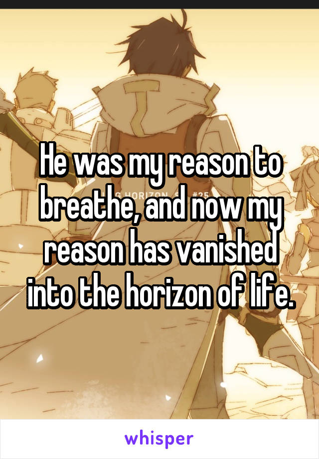 He was my reason to breathe, and now my reason has vanished into the horizon of life.